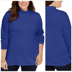 Blue Cotton Mock Turtleneck Plus Size 3X
